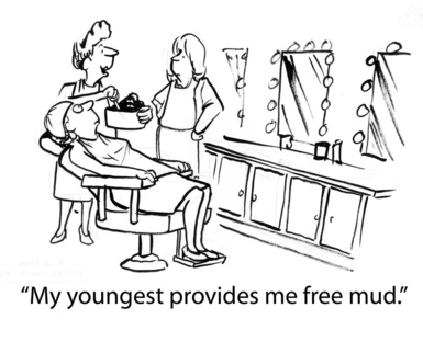 """Esthetician performing a mud facial says, """"My youngest provides me free mud""""."""