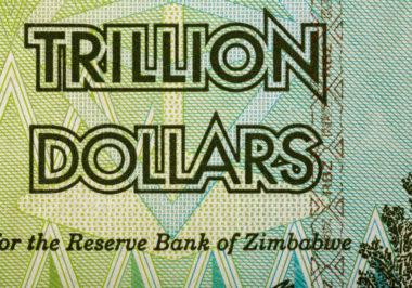 Macro of Zimbabwe twenty billion dollars banknote. Now void currency. Inflation concept