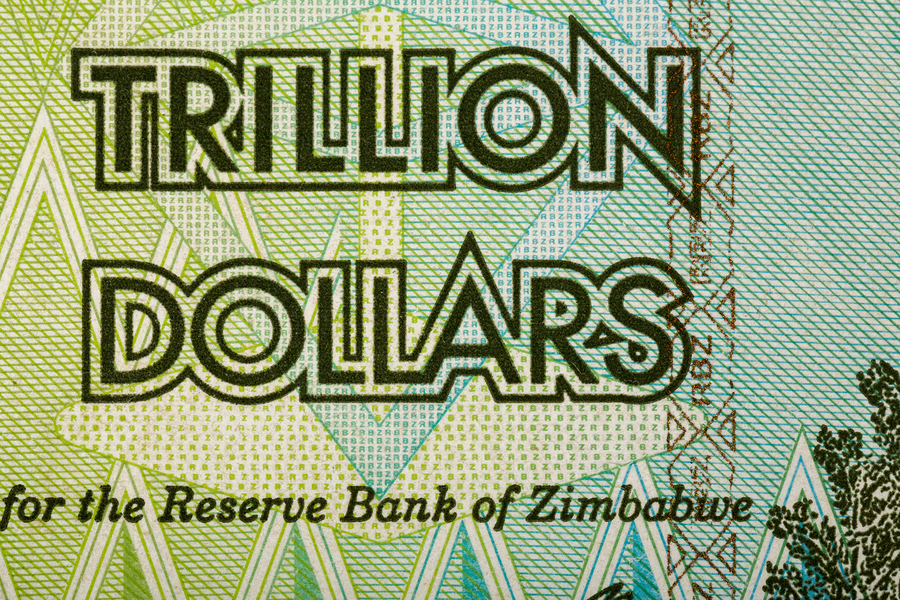 Macro of Zimbabwe twenty billion dollars banknote. Now void currency. Inflation concept